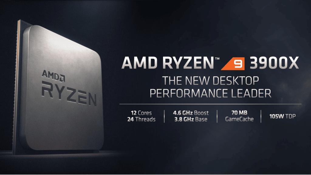 AMD Ryzen 9 3900X CPU presentation slide