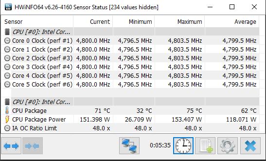 Intel Core i5-10600K HWiNFO 4.8GHz Overclock