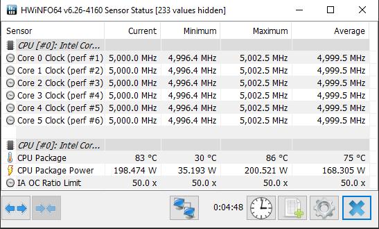 Intel Core i5-10600K HWiNFO 5GHz Overclock