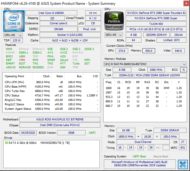 Intel Core i5-10600K HWiNFO