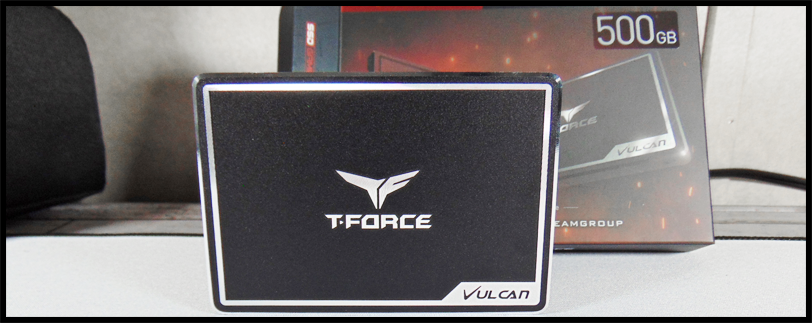 TeamGroup T-Force Vulcan 500GB SSD shown with box
