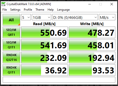 TeamGroup T-Force Vulcan 500GB SSD CrystalDiskMark Results