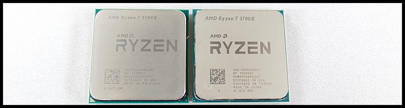 AMD Ryzen 7 2700X CPU beside AMD Ryzen 7 3700X CPU on a white background