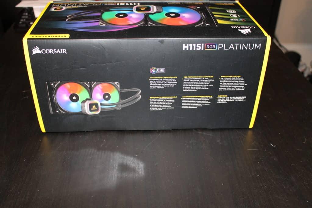 Side of Corsair H115i Platinum Box