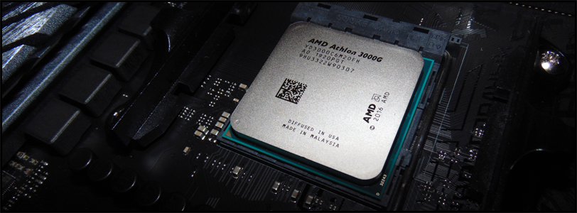AMD Athlon 3000G APU in Socket of Motherboard