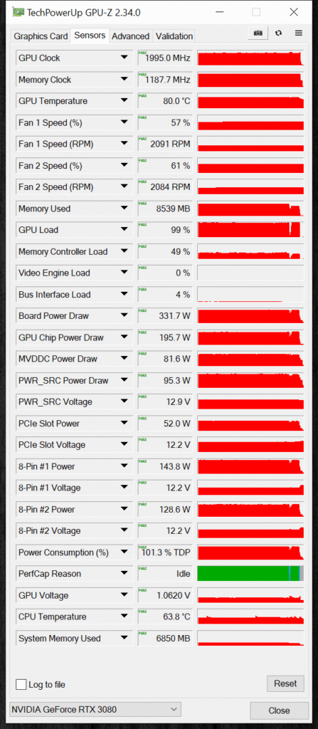 NVIDIA GeForce RTX 3080 FE Overclocking GPUz Sensor Data Default