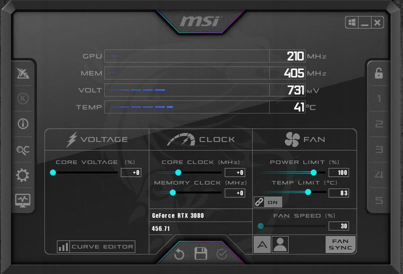 NVIDIA GeForce RTX 3080 FE Overclocking MSI Afterburner Default