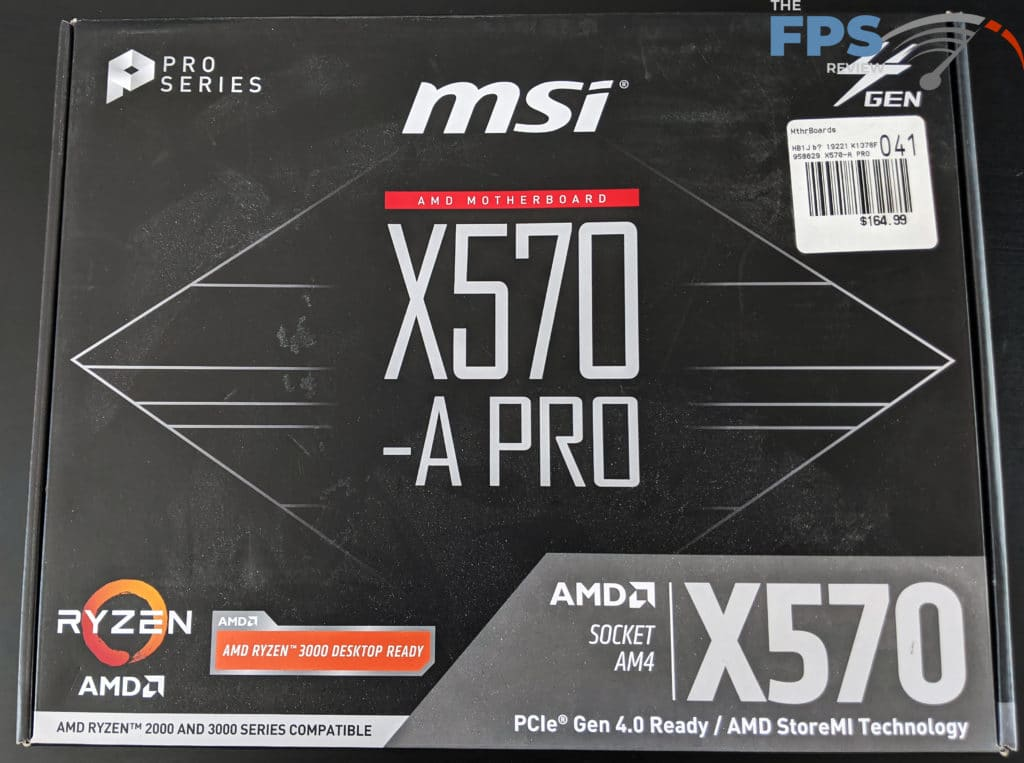 MSI X570-A PRO Motherboard Front of Box