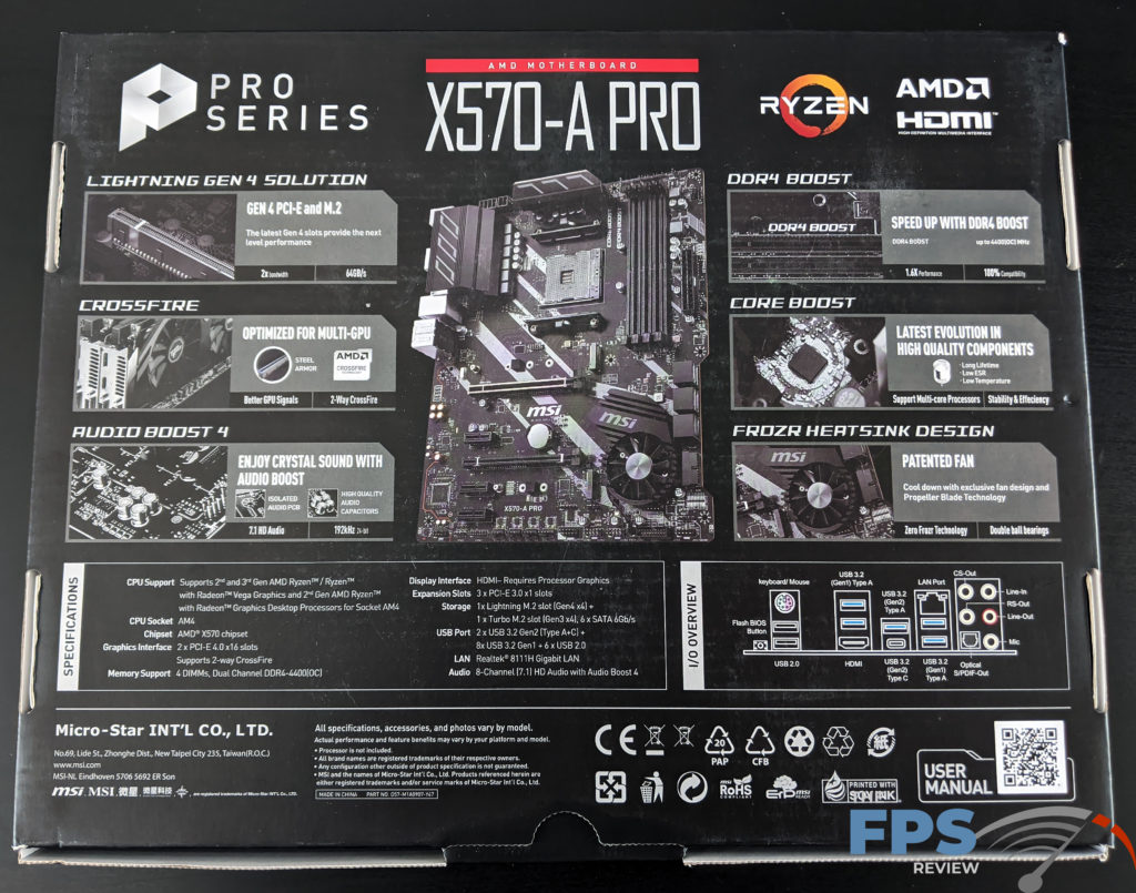 MSI X570-A PRO Motherboard Back of Box