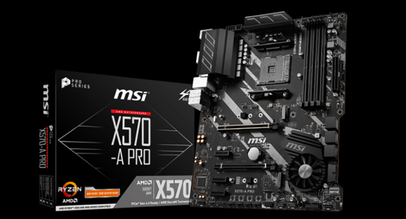 MSI X570-A PRO Motherboard and Box on Black Background