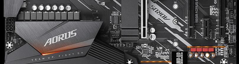 GIGABYTE B550 AORUS ELITE Motherboard chipset heatsink with AORUS label