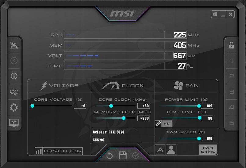 NVIDIA GeForce RTX 3070 FE Overclocking MSI Afterburner Maximum Overclock