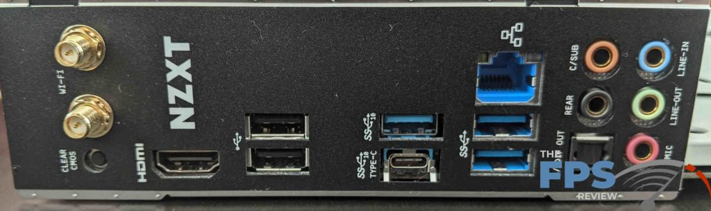 NZXT N7 Z490 Motherboard I/O Ports