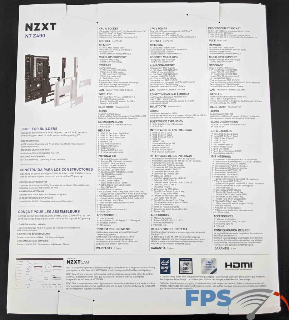 NZXT N7 Z490 Motherboard Back of Box