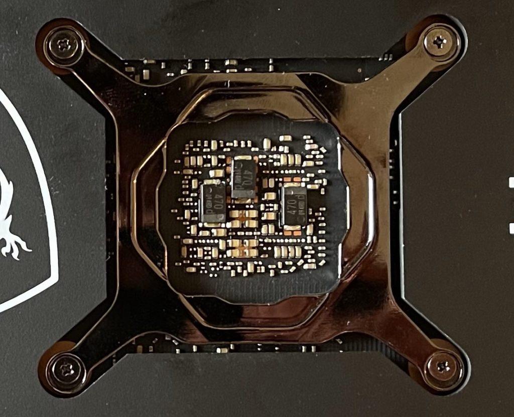 MSI GeForce RTX 3060 Ti GAMING X TRIO Video Card Back of GPU SP-CAP Capacitors