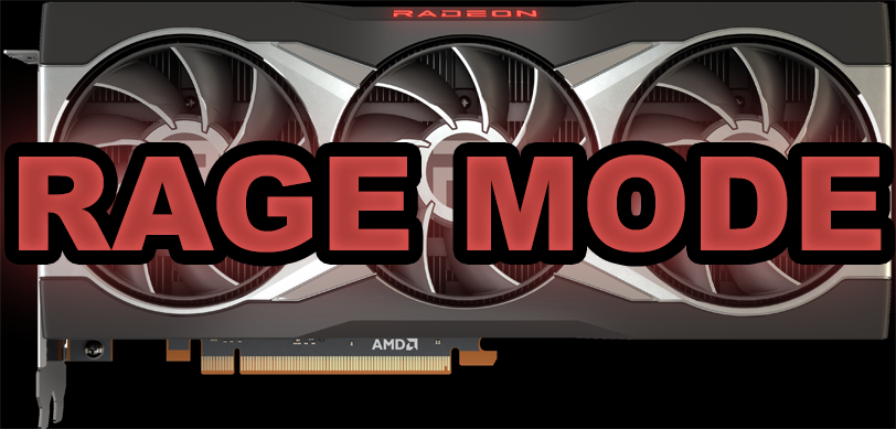 AMD Radeon RX 6800 XT video card with RAGE MODE text overlaid