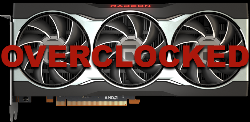 AMD Radeon RX 6800 video card overlaid with overclock text