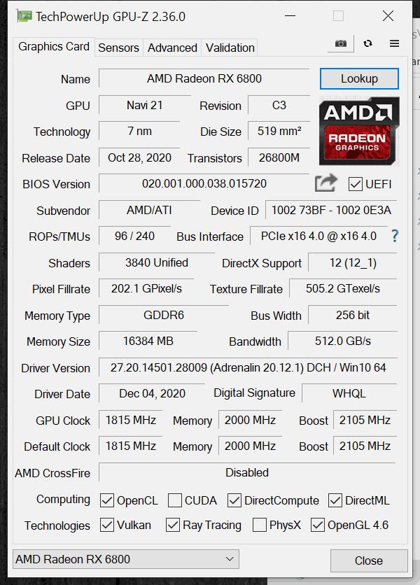 AMD Radeon RX 6800 Default GPUz