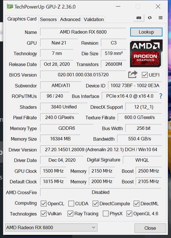 AMD Radeon RX 6800 Overclocked GPUz