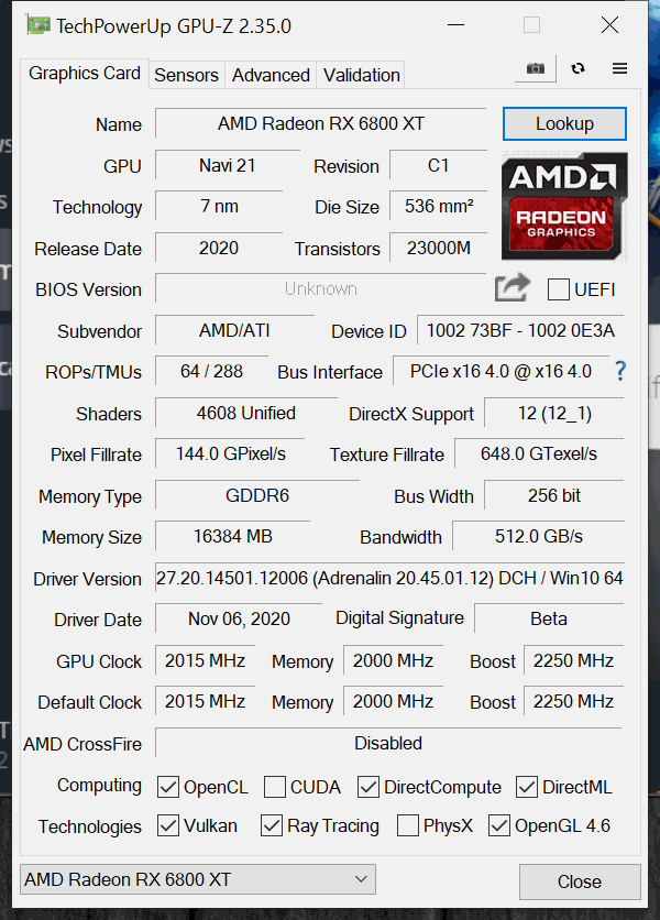 AMD Radeon RX 6800 XT Overclocking GPUz Default