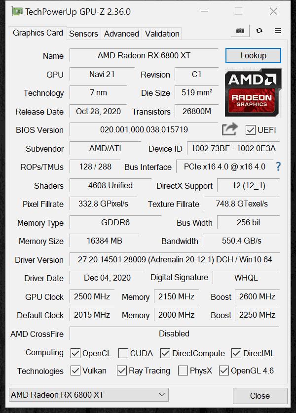 AMD Radeon RX 6800 XT Overclocking Overclocked GPUz