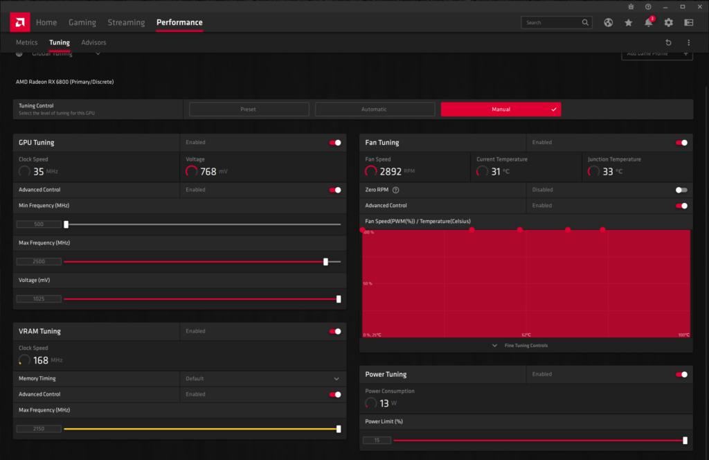 AMD Radeon Software Performance Tuning Manual Overclock AMD Radeon RX 6800 Overclocking