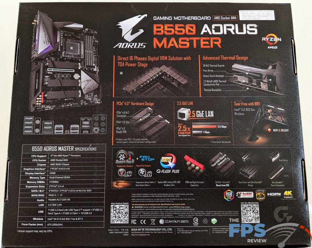 GIGABYTE B550 Aorus Master Box Back