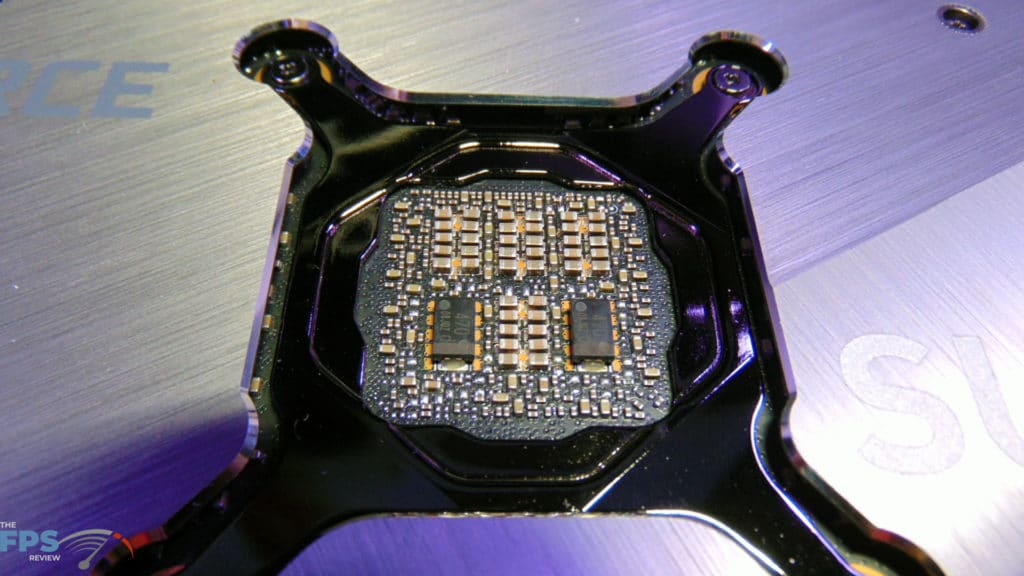 MSI GeForce RTX 3080 SUPRIM X Back of GPU MLCC SP-CAPs