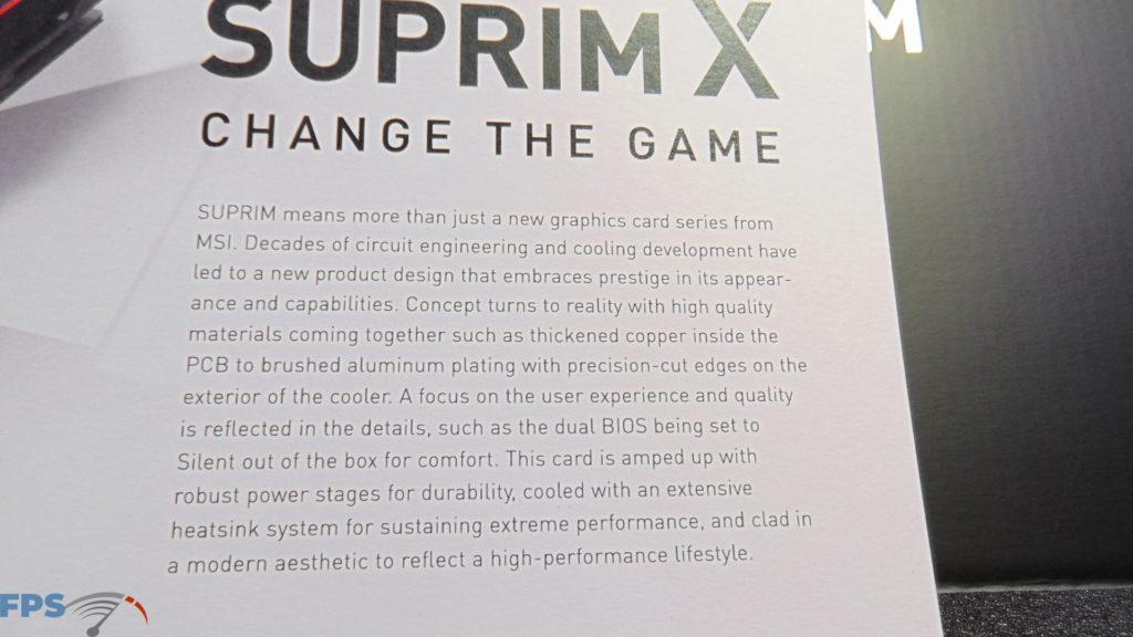 MSI GeForce RTX 3080 SUPRIM X Change the Game SUPRIM Document