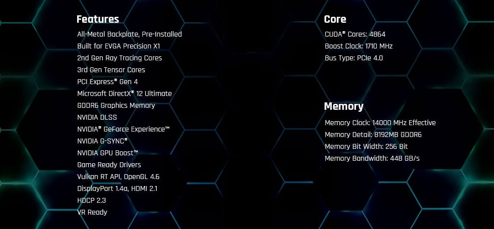 EVGA GeForce RTX 3060 Ti XC GAMING Features