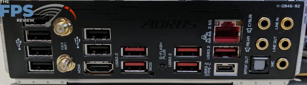 GIGABYTE B550 Aorus Master rear i/o panel