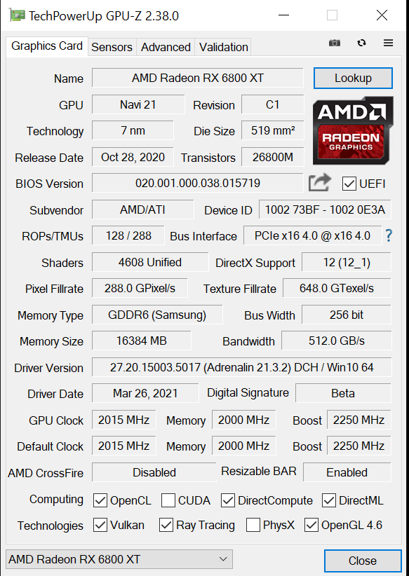 AMD Radeon RX 6800 XT Smart Access Memory