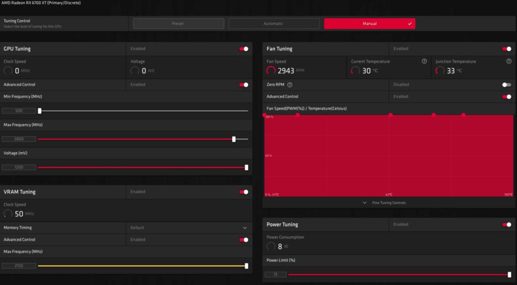 AMD Radeon RX 6700 XT Radeon Software Performance Tuning Overclock