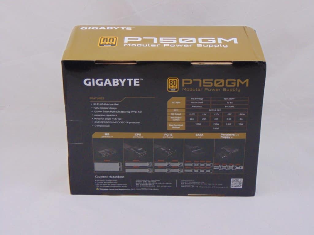 GIGABYTE P750GM 750W Power Supply Box Back