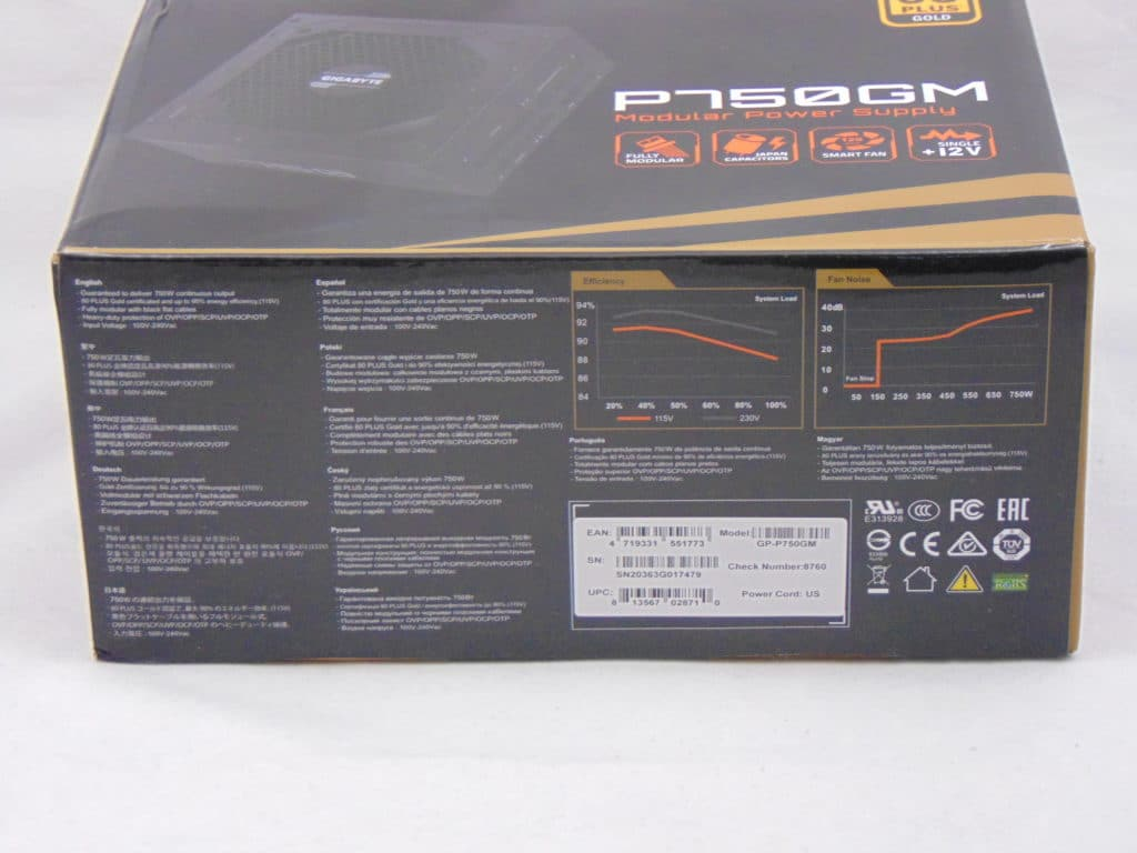 GIGABYTE P750GM 750W Power Supply Box Bottom