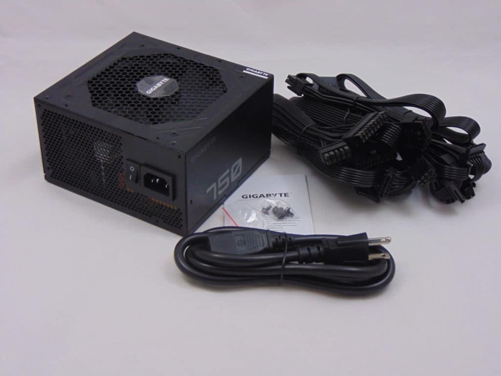 GIGABYTE P750GM 750W Power Supply Box Contents on Table