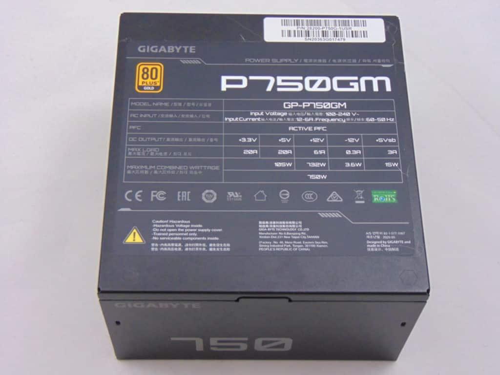 GIGABYTE P750GM 750W Power Supply Top View