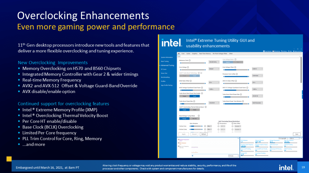 Intel 11th Gen Core Desktop Processor  Rocket Lake-S Overclocking Enhancements