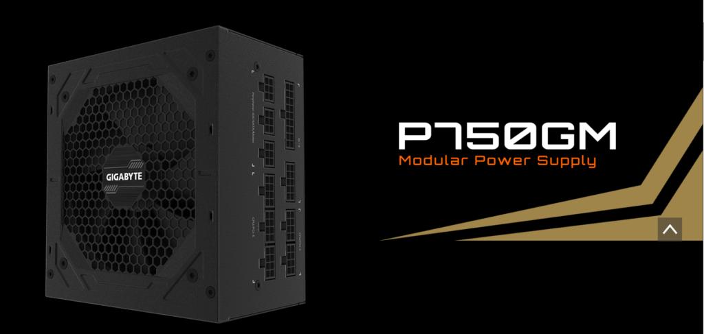 GIGABYTE P750GM 750W Power Supply Standing Up showing GIGABYTE label