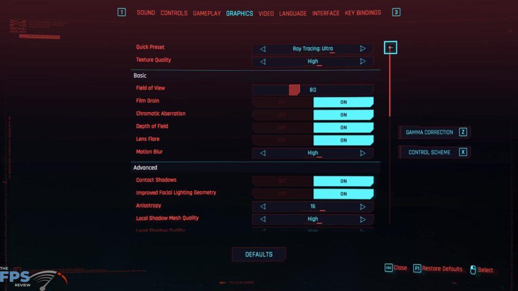 Cyberpunk 2077 Menu Graphics Settings Ray Tracing