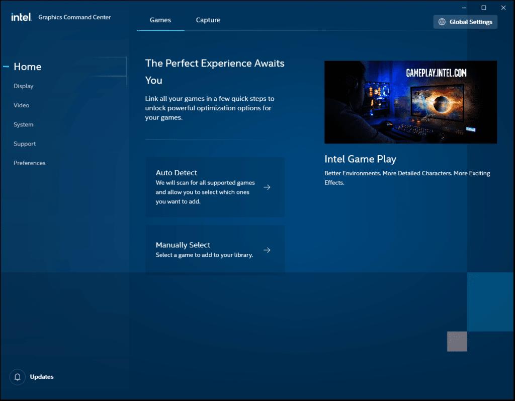 Intel Graphics Command Center Home Screen