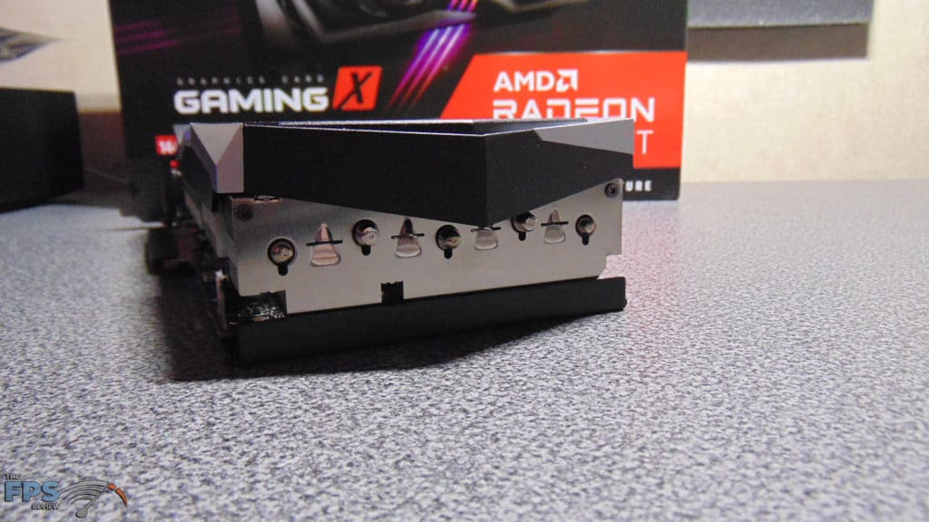 MSI Radeon RX 6700 XT GAMING X back end of video card heatpipes