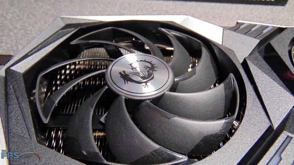 MSI Radeon RX 6700 XT GAMING X closeup of left fan