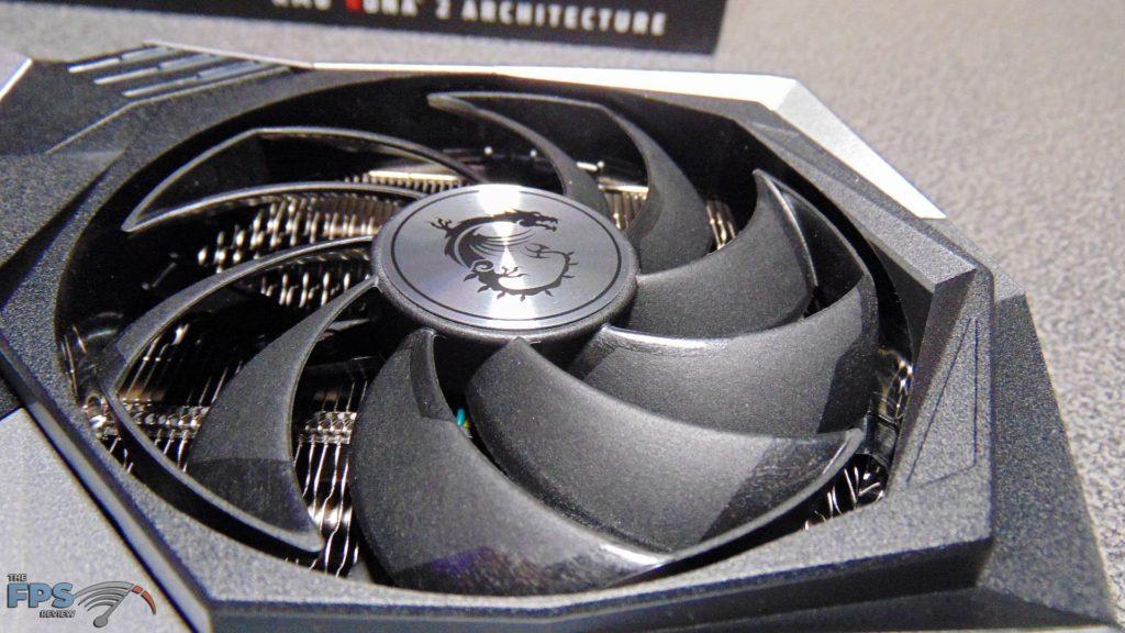 MSI Radeon RX 6700 XT GAMING X closeup of right fan