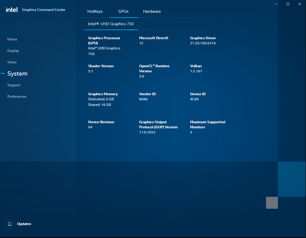 Intel Graphics Command Center System GPUs Intel UHD Graphics 750