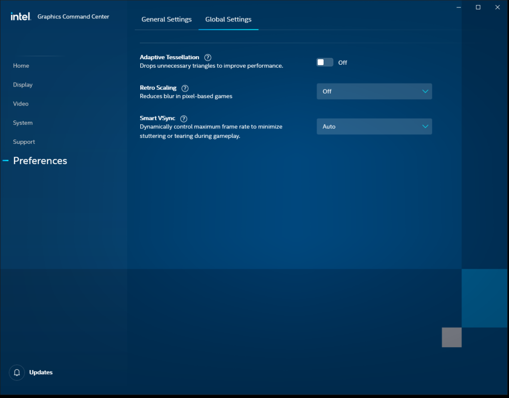Intel Graphics Command Center Preferences Global Settings