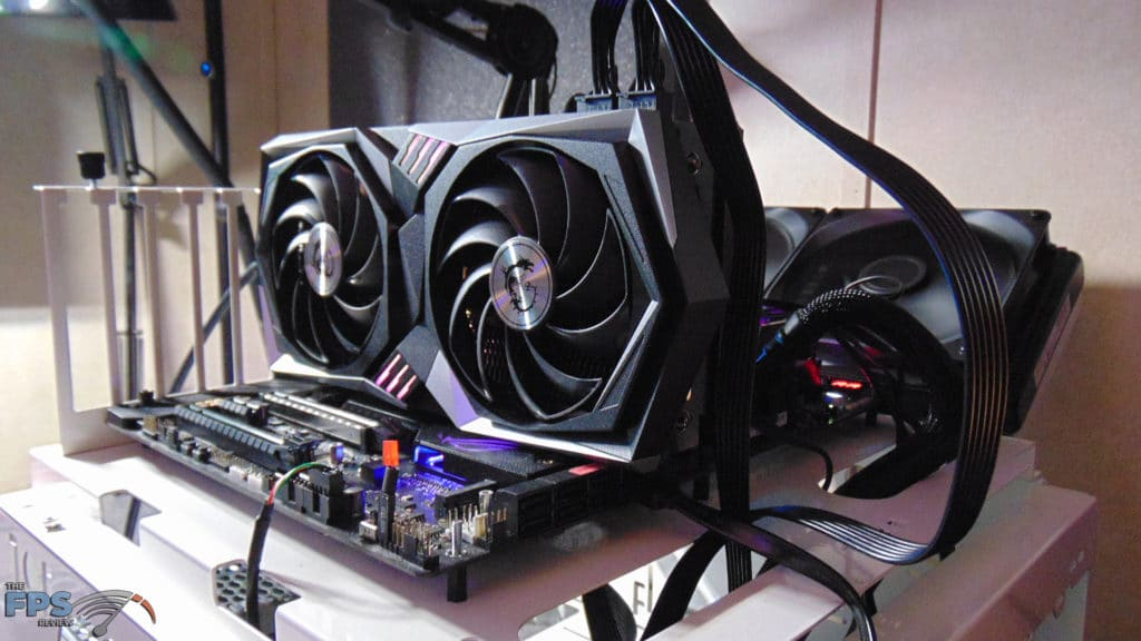 MSI Radeon RX 6700 XT GAMING X angled view installed in computer