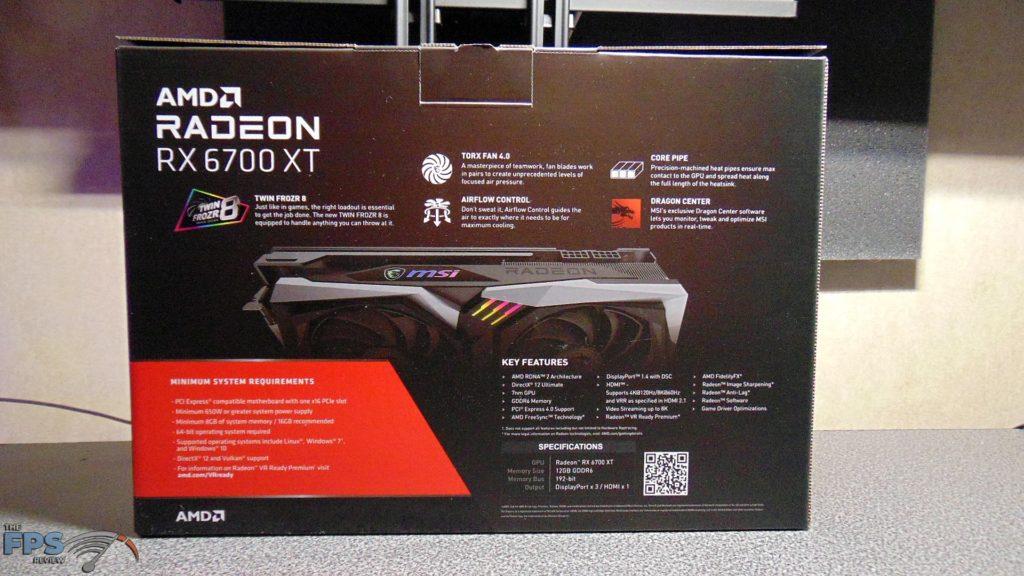 MSI Radeon RX 6700 XT GAMING X box back