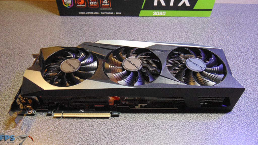 GIGABYTE GeForce RTX 3090 GAMING OC Front of Card on Table