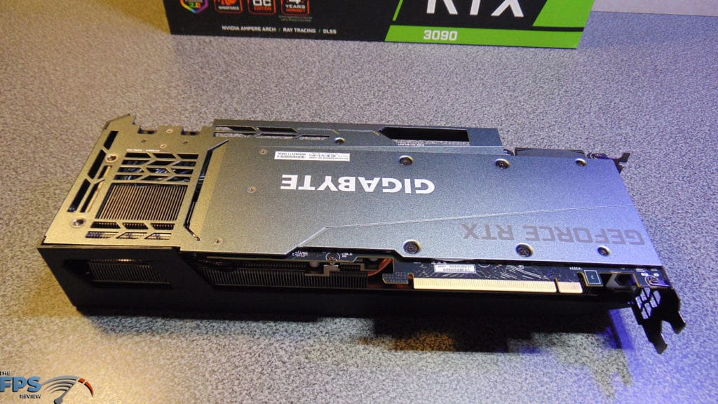 GIGABYTE GeForce RTX 3090 GAMING OC Back of Card on Table Upside Down
